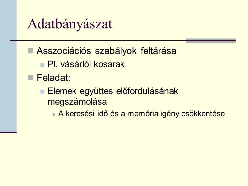 Adatbányászat Asszociációs szabályok feltárása Pl.