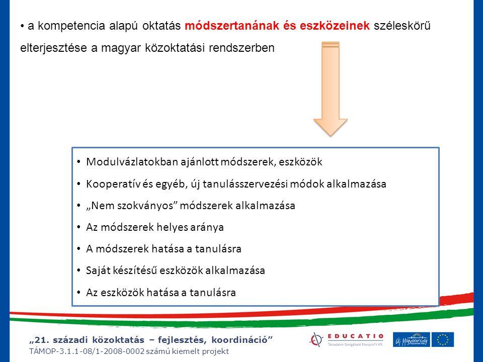 """""""21. századi közoktatás – fejlesztés, koordináció"""" TÁMOP-3.1.1-08/1-2008-0002 számú kiemelt projekt a kompetencia alapú oktatás módszertanának és eszk"""