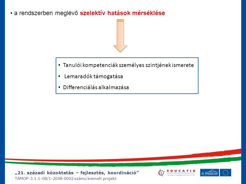 """""""21. századi közoktatás – fejlesztés, koordináció"""" TÁMOP-3.1.1-08/1-2008-0002 számú kiemelt projekt a rendszerben meglévő szelektív hatások mérséklése"""