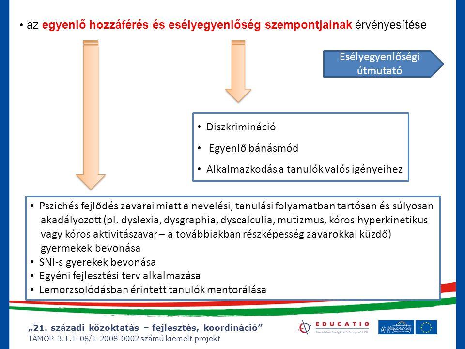 """""""21. századi közoktatás – fejlesztés, koordináció"""" TÁMOP-3.1.1-08/1-2008-0002 számú kiemelt projekt az egyenlő hozzáférés és esélyegyenlőség szempontj"""