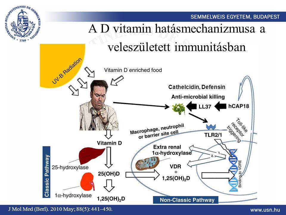 J Mol Med (Berl). 2010 May; 88(5): 441–450. A D vitamin hatásmechanizmusa a veleszületett immunitásban Cathelcidin, Defensin