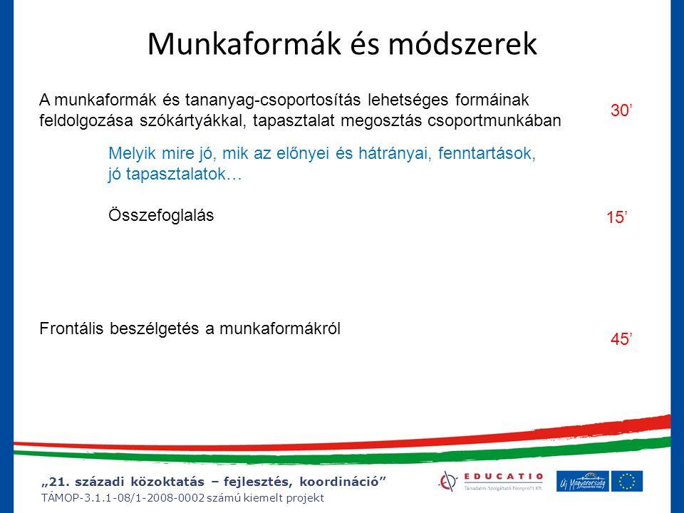 """""""21. századi közoktatás – fejlesztés, koordináció"""" TÁMOP-3.1.1-08/1-2008-0002 számú kiemelt projekt Munkaformák és módszerek Frontális beszélgetés a m"""