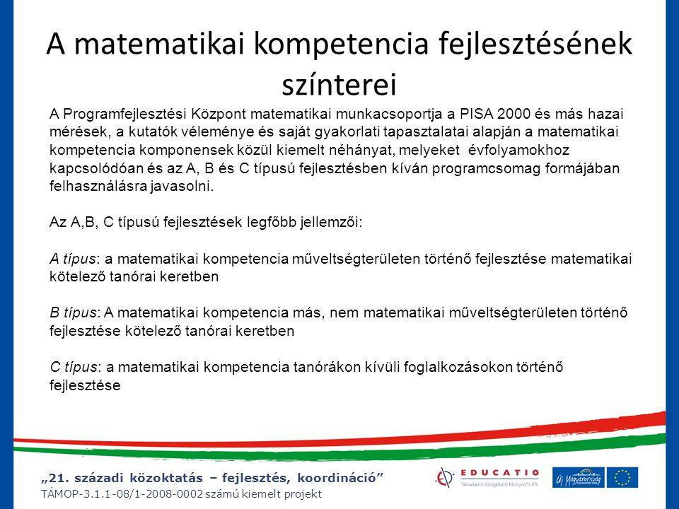 """""""21. századi közoktatás – fejlesztés, koordináció"""" TÁMOP-3.1.1-08/1-2008-0002 számú kiemelt projekt A matematikai kompetencia fejlesztésének színterei"""