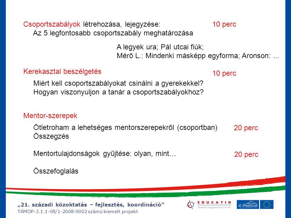 """""""21. századi közoktatás – fejlesztés, koordináció"""" TÁMOP-3.1.1-08/1-2008-0002 számú kiemelt projekt Csoportszabályok létrehozása, lejegyzése: Az 5 leg"""