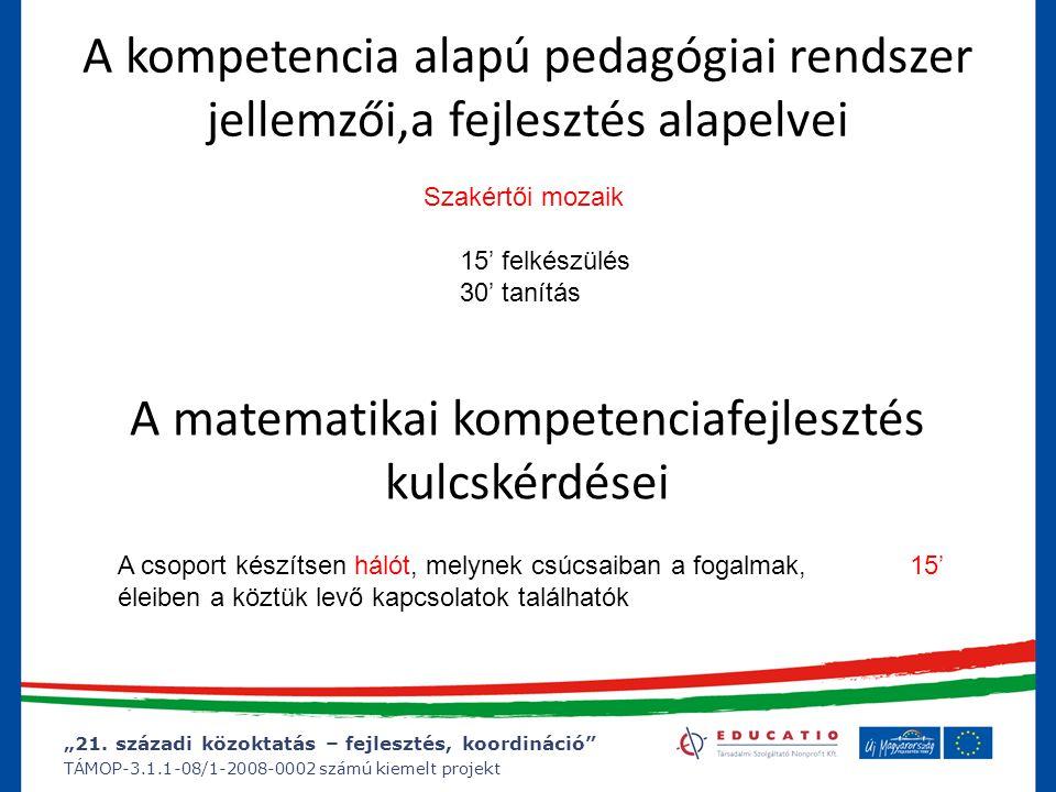 """""""21. századi közoktatás – fejlesztés, koordináció"""" TÁMOP-3.1.1-08/1-2008-0002 számú kiemelt projekt A kompetencia alapú pedagógiai rendszer jellemzői,"""