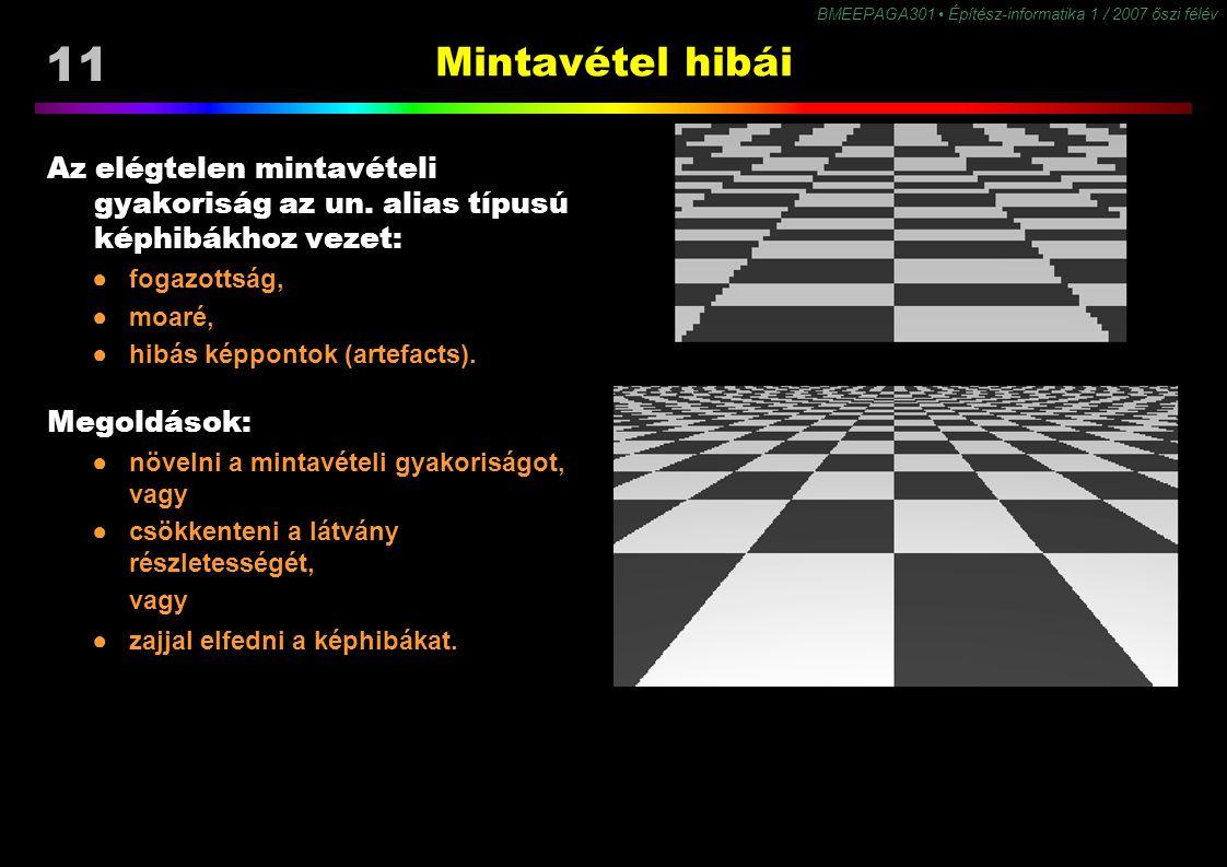 11 BMEEPAGA301 Építész-informatika 1 / 2007 őszi félév Mintavétel hibái Az elégtelen mintavételi gyakoriság az un. alias típusú képhibákhoz vezet: ●fo