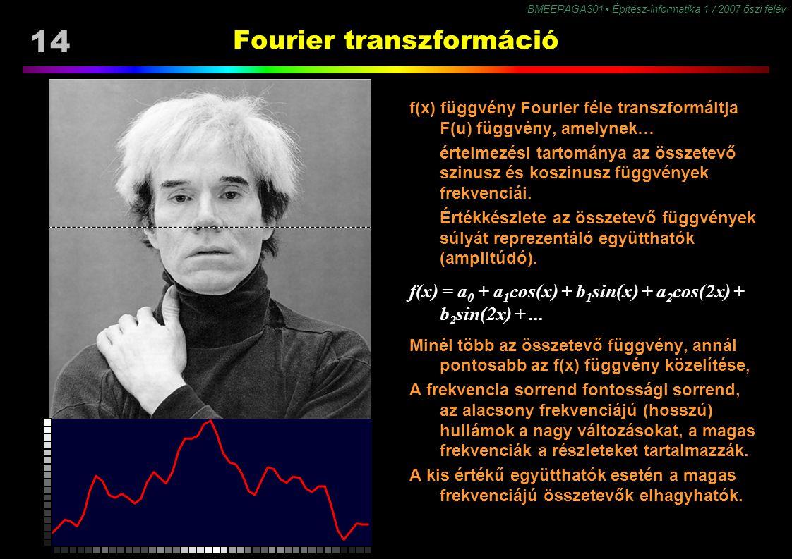 14 BMEEPAGA301 Építész-informatika 1 / 2007 őszi félév Fourier transzformáció f(x) függvény Fourier féle transzformáltja F(u) függvény, amelynek… érte