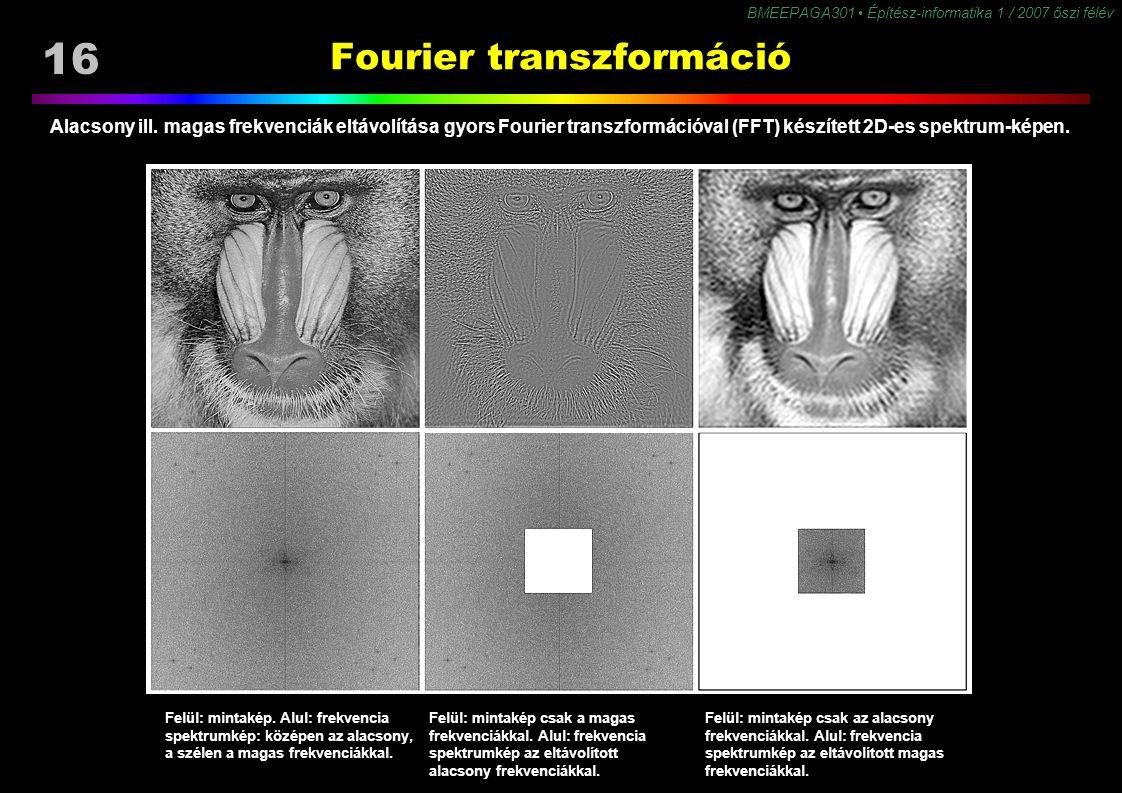16 BMEEPAGA301 Építész-informatika 1 / 2007 őszi félév Fourier transzformáció Felül: mintakép. Alul: frekvencia spektrumkép: középen az alacsony, a sz