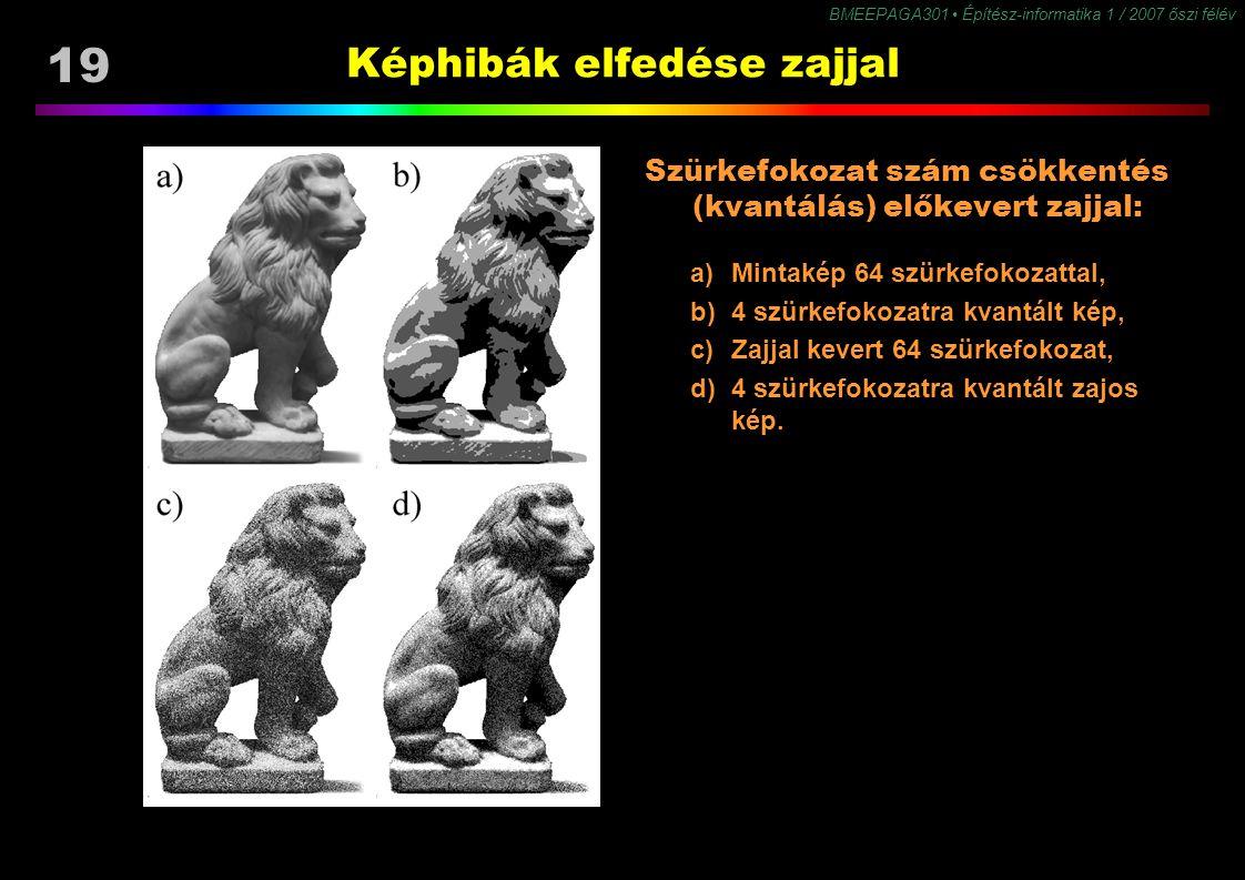19 BMEEPAGA301 Építész-informatika 1 / 2007 őszi félév Képhibák elfedése zajjal Szürkefokozat szám csökkentés (kvantálás) előkevert zajjal: a) Mintaké