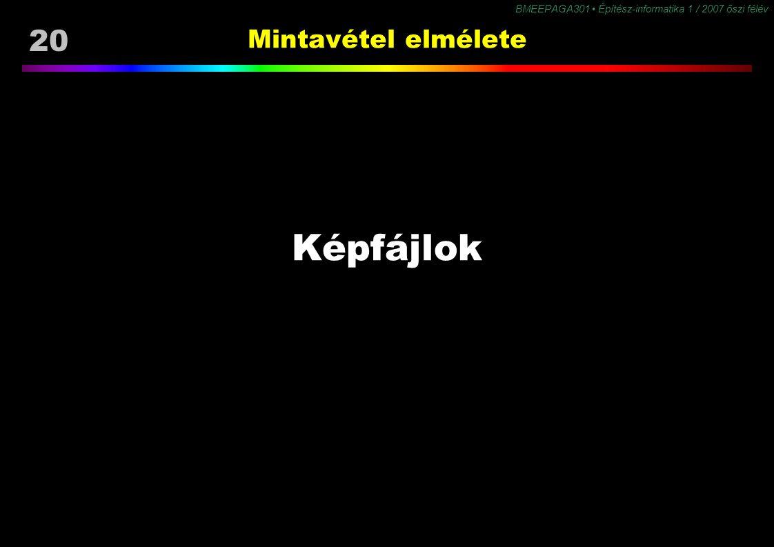 20 BMEEPAGA301 Építész-informatika 1 / 2007 őszi félév Mintavétel elmélete Képfájlok