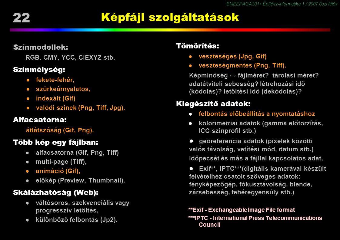 22 BMEEPAGA301 Építész-informatika 1 / 2007 őszi félév Képfájl szolgáltatások Tömörítés: ●veszteséges (Jpg, Gif) ●veszteségmentes (Png, Tiff). Képminő