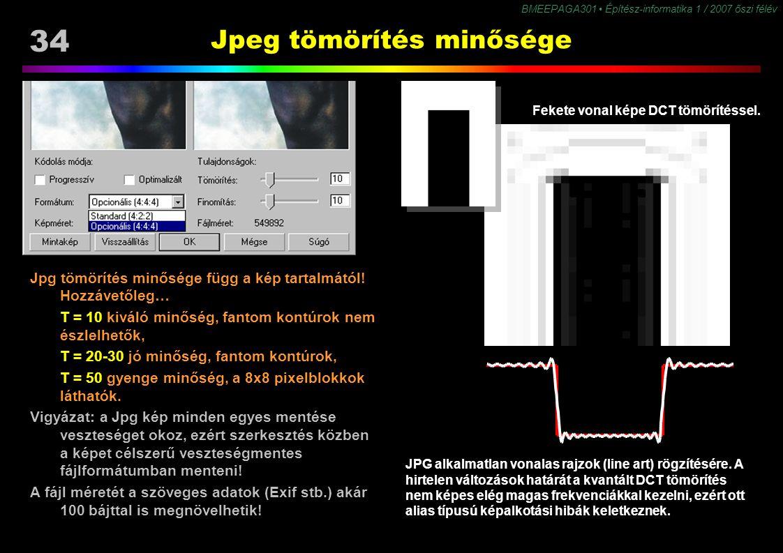 34 BMEEPAGA301 Építész-informatika 1 / 2007 őszi félév Jpeg tömörítés minősége Jpg tömörítés minősége függ a kép tartalmától! Hozzávetőleg… T = 10 kiv