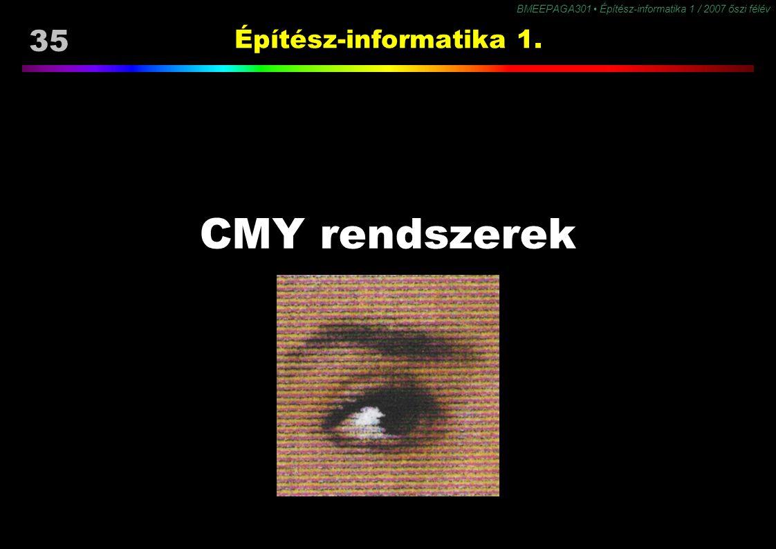 35 BMEEPAGA301 Építész-informatika 1 / 2007 őszi félév Építész-informatika 1. CMY rendszerek
