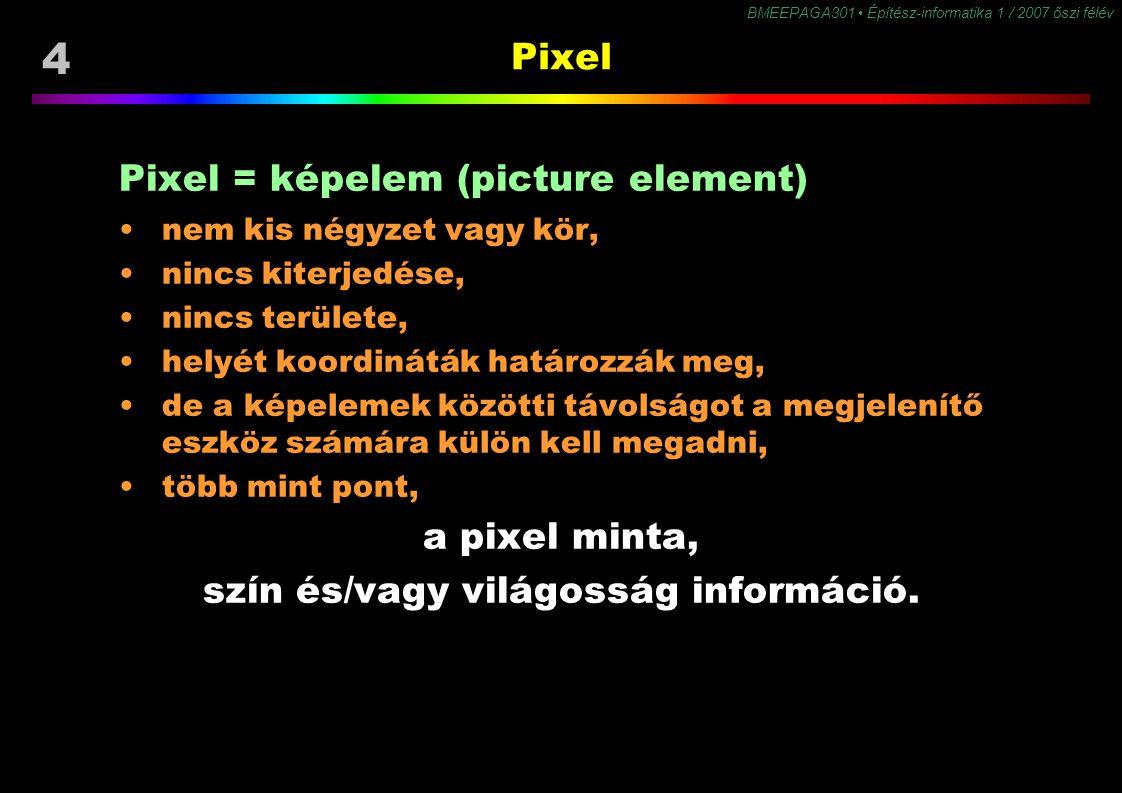 4 BMEEPAGA301 Építész-informatika 1 / 2007 őszi félév Pixel Pixel = képelem (picture element) nem kis négyzet vagy kör, nincs kiterjedése, nincs terül
