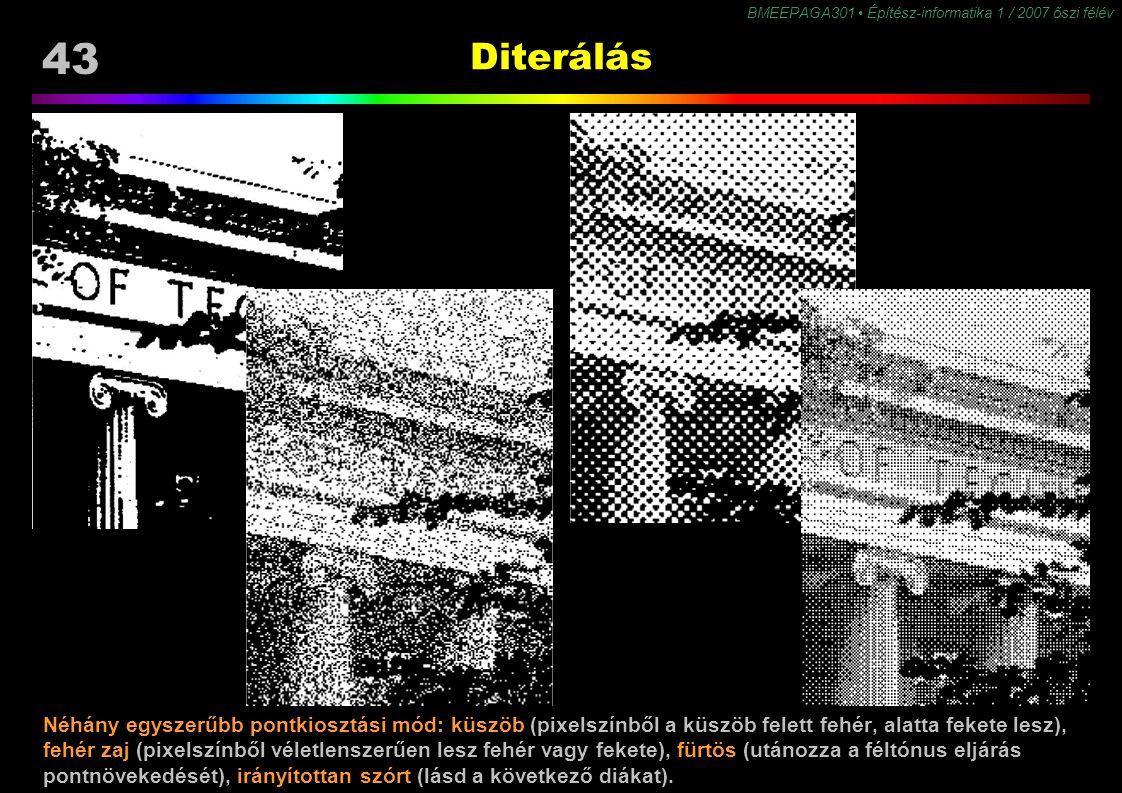 43 BMEEPAGA301 Építész-informatika 1 / 2007 őszi félév Diterálás Néhány egyszerűbb pontkiosztási mód: küszöb (pixelszínből a küszöb felett fehér, alat