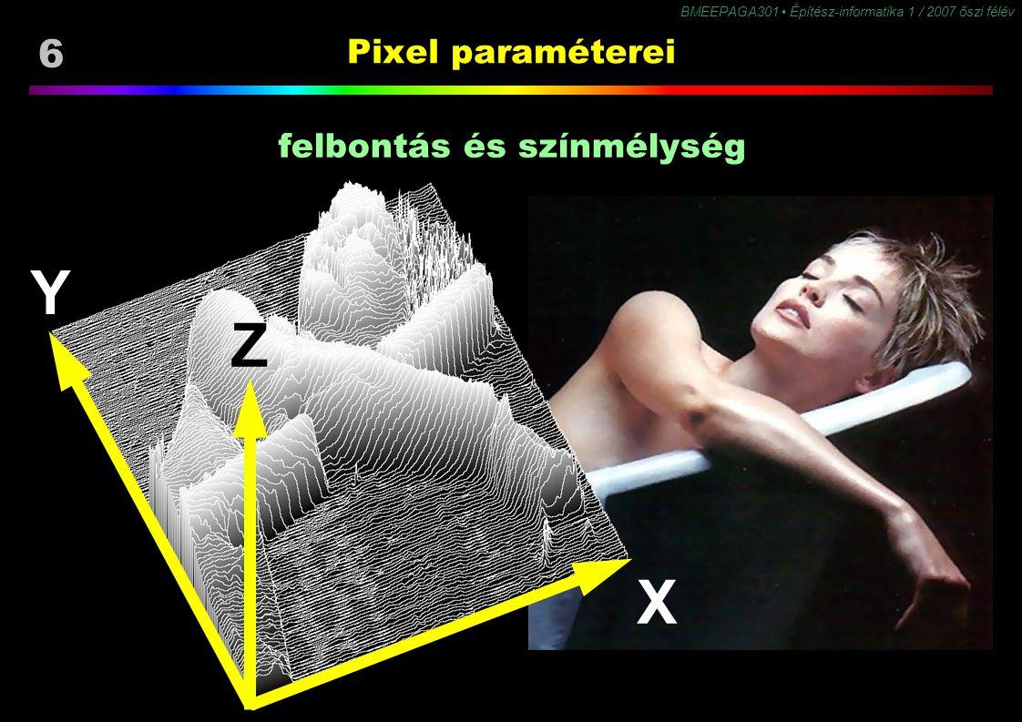 6 BMEEPAGA301 Építész-informatika 1 / 2007 őszi félév Pixel paraméterei X Y Z felbontás és színmélység