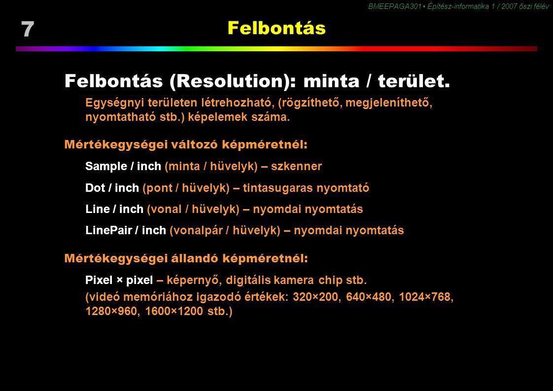 8 BMEEPAGA301 Építész-informatika 1 / 2007 őszi félév Színmélység Színmélység (Color Mode, Color Depth) a szín mintavételezés (kvantálás) pontossága, mértéke a sz.gép memóriához igazodik: 2 1 1 bit – 2 szín (pl.