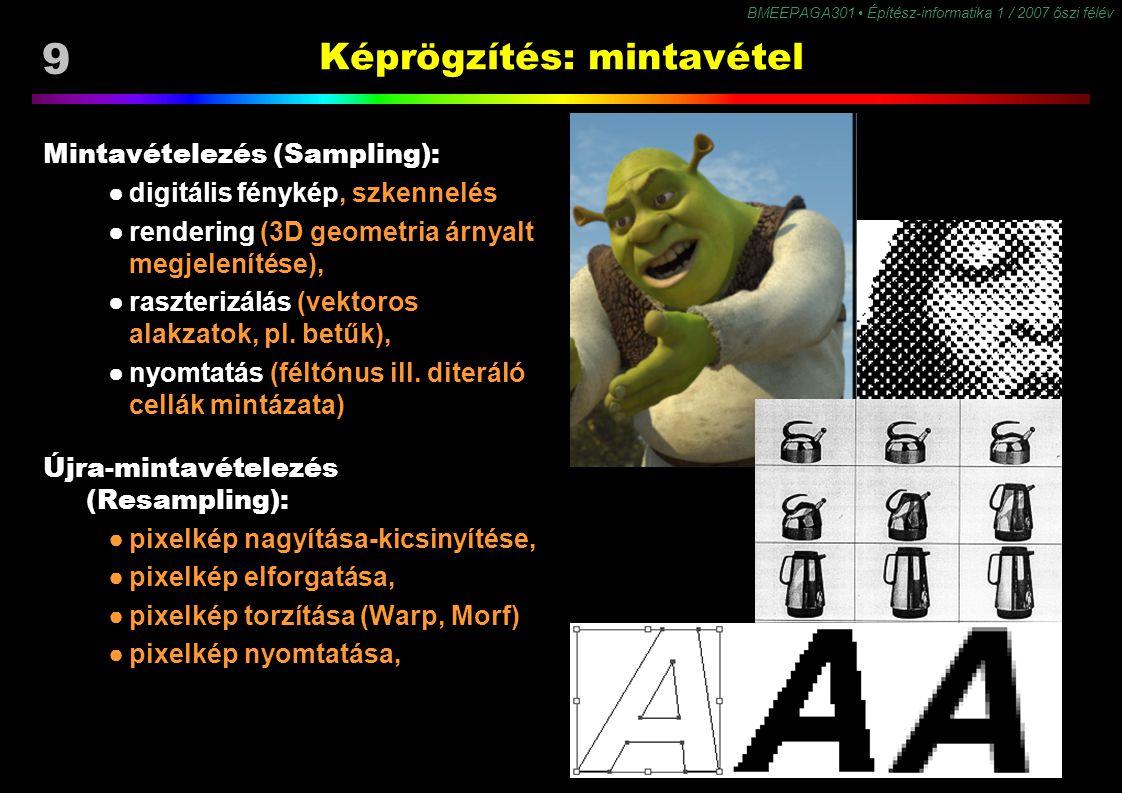 9 BMEEPAGA301 Építész-informatika 1 / 2007 őszi félév Képrögzítés: mintavétel Mintavételezés (Sampling): ●digitális fénykép, szkennelés ●rendering (3D