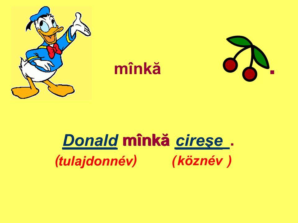 mînkă. ______ mînkă _____. tulajdonnév köznév Donald mînkă cireşe ( )
