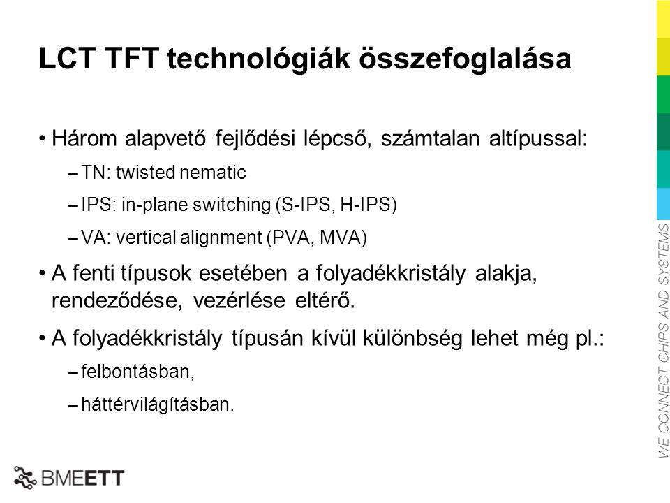 LCT TFT technológiák összefoglalása Három alapvető fejlődési lépcső, számtalan altípussal: –TN: twisted nematic –IPS: in-plane switching (S-IPS, H-IPS
