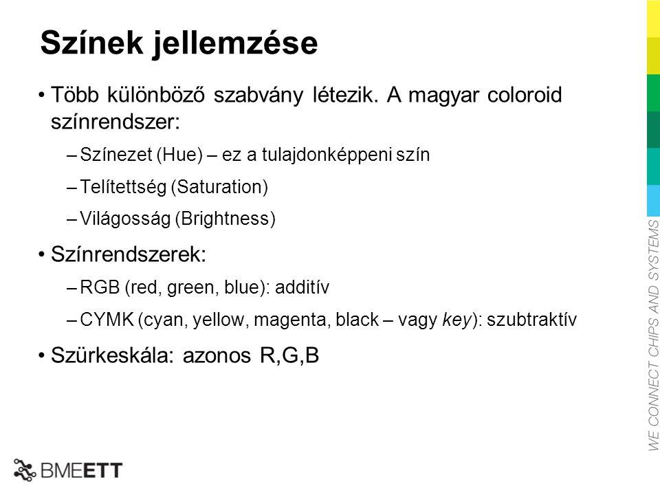 Színek jellemzése Több különböző szabvány létezik. A magyar coloroid színrendszer: –Színezet (Hue) – ez a tulajdonképpeni szín –Telítettség (Saturatio