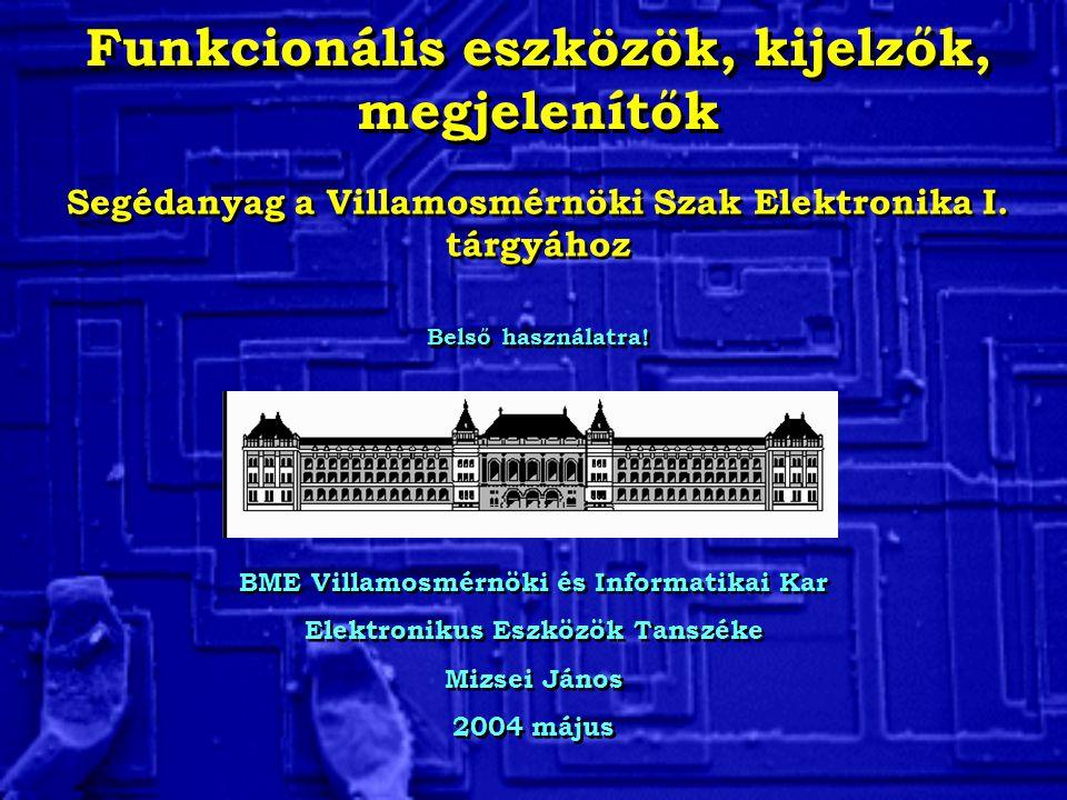 Funkcionális eszközök, kijelzők, megjelenítők BME Villamosmérnöki és Informatikai Kar Elektronikus Eszközök Tanszéke Mizsei János 2004 május BME Villamosmérnöki és Informatikai Kar Elektronikus Eszközök Tanszéke Mizsei János 2004 május Segédanyag a Villamosmérnöki Szak Elektronika I.