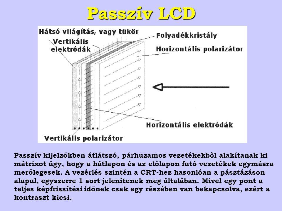 Passzív LCD Passzív kijelzőkben átlátszó, párhuzamos vezetékekbõl alakítanak ki mátrixot úgy, hogy a hátlapon és az előlapon futó vezetékek egymásra merőlegesek.