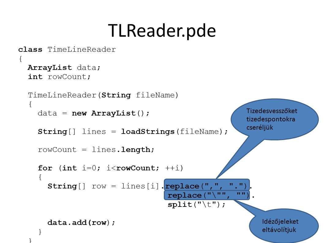 TLReader.pde class TimeLineReader { ArrayList data; int rowCount; TimeLineReader(String fileName) { data = new ArrayList(); String[] lines = loadStrin