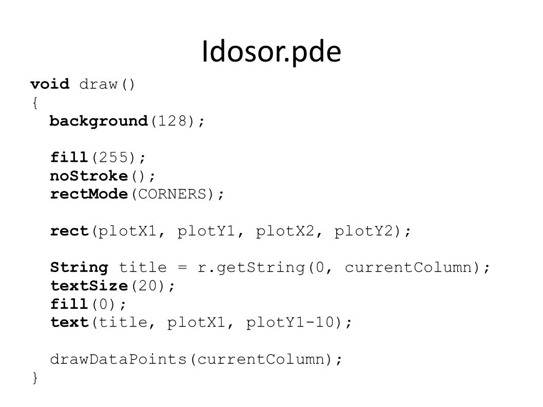 Idosor.pde void draw() { background(128); fill(255); noStroke(); rectMode(CORNERS); rect(plotX1, plotY1, plotX2, plotY2); String title = r.getString(0, currentColumn); textSize(20); fill(0); text(title, plotX1, plotY1-10); drawDataPoints(currentColumn); }