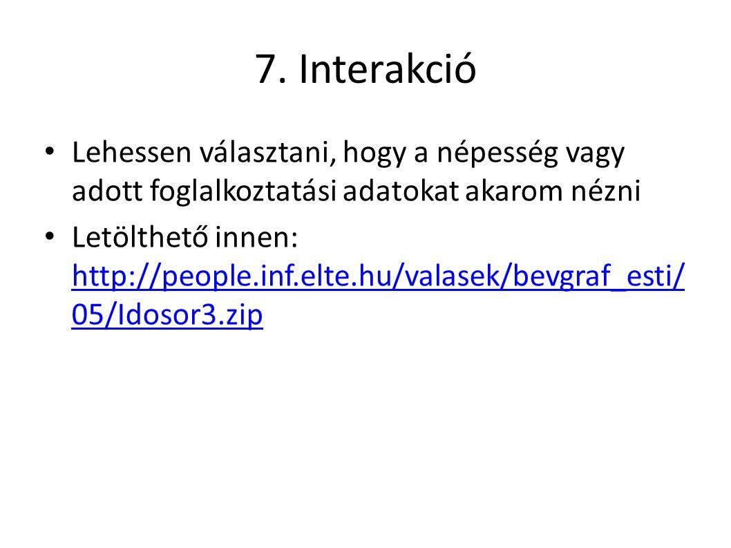 7. Interakció Lehessen választani, hogy a népesség vagy adott foglalkoztatási adatokat akarom nézni Letölthető innen: http://people.inf.elte.hu/valase