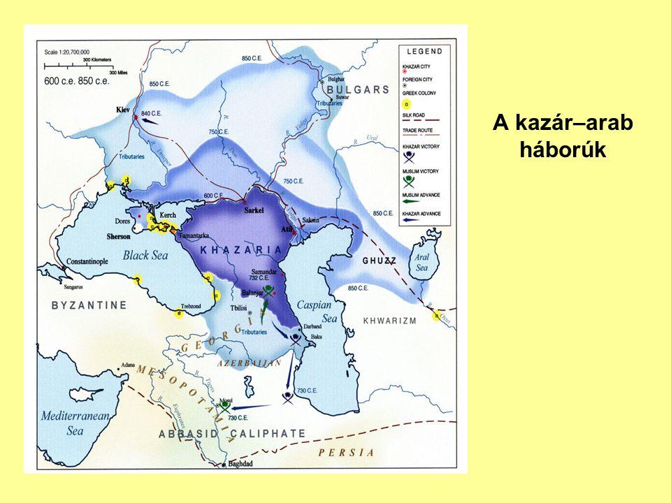 706-710: több arab támadás Derbent ellen, a várost beveszik 713-714: újabb arab támadás, mélyen behatolnak a kazár birodalomba, de aztán nem vállalva az ütközetet, elmenekülnek 722: az arabok beveszik Belendzsert, a kazár fővárost 728-729: az arabok újabb hadjárata, a nagy esőzések miatt elmenekülnek 730: a kazár kagán fölveszi a zsidó vallást 730-731: nagy kazár ellentámadás 732-733: arab támadás, Derbent bevétele, a kazár kagán elesik a csatában 732-733: Marván ibn Muhhamad támadása Belendzser és Szemender ellen, nagy arab vereség 737: Marván ibn Muhammad 120 ezer fővel támad, a menekülő kagánt elfogja, iszlám hitre téríti.