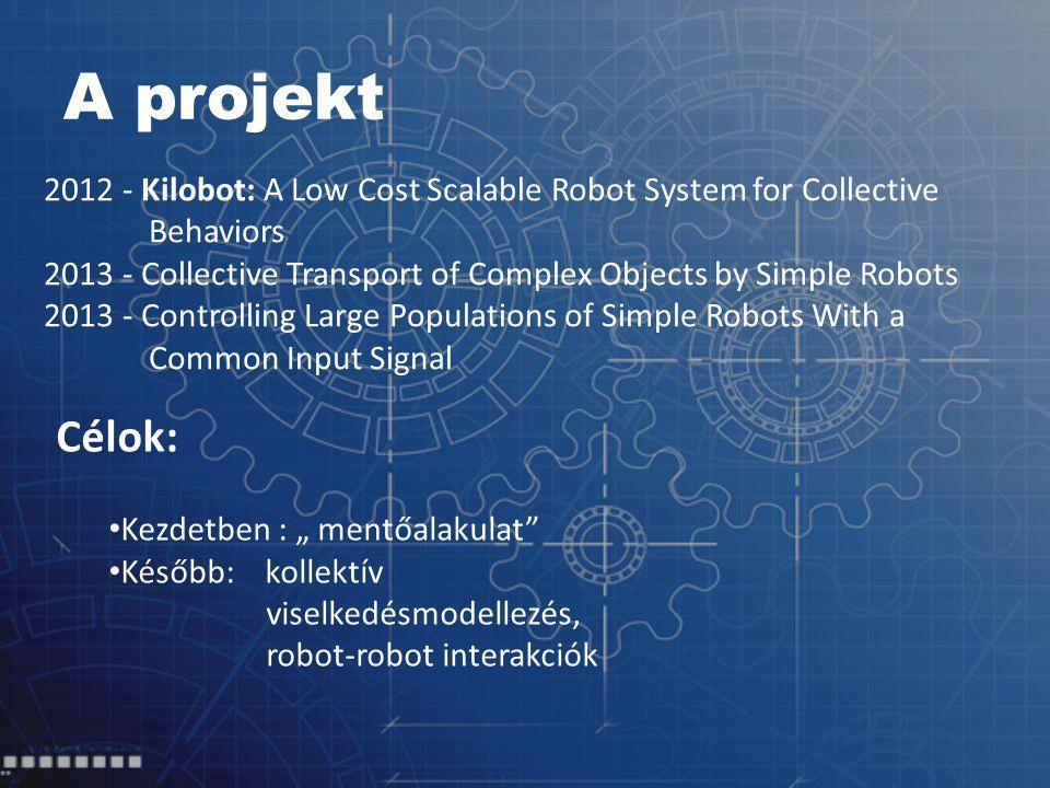 "A projekt 2012 - Kilobot: A Low Cost Scalable Robot System for Collective Behaviors 2013 - Collective Transport of Complex Objects by Simple Robots 2013 - Controlling Large Populations of Simple Robots With a Common Input Signal Célok: Kezdetben : "" mentőalakulat Később: kollektív viselkedésmodellezés, robot-robot interakciók"