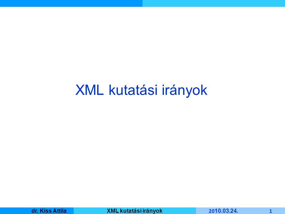 Master Informatique 20 10. 03. 24. 1 dr. Kiss AttilaXML kutatási irányok