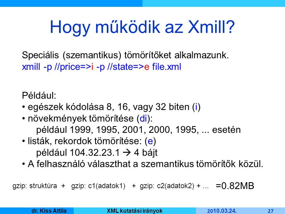 Master Informatique 20 10. 03. 24. 27 dr. Kiss AttilaXML kutatási irányok Hogy működik az Xmill.