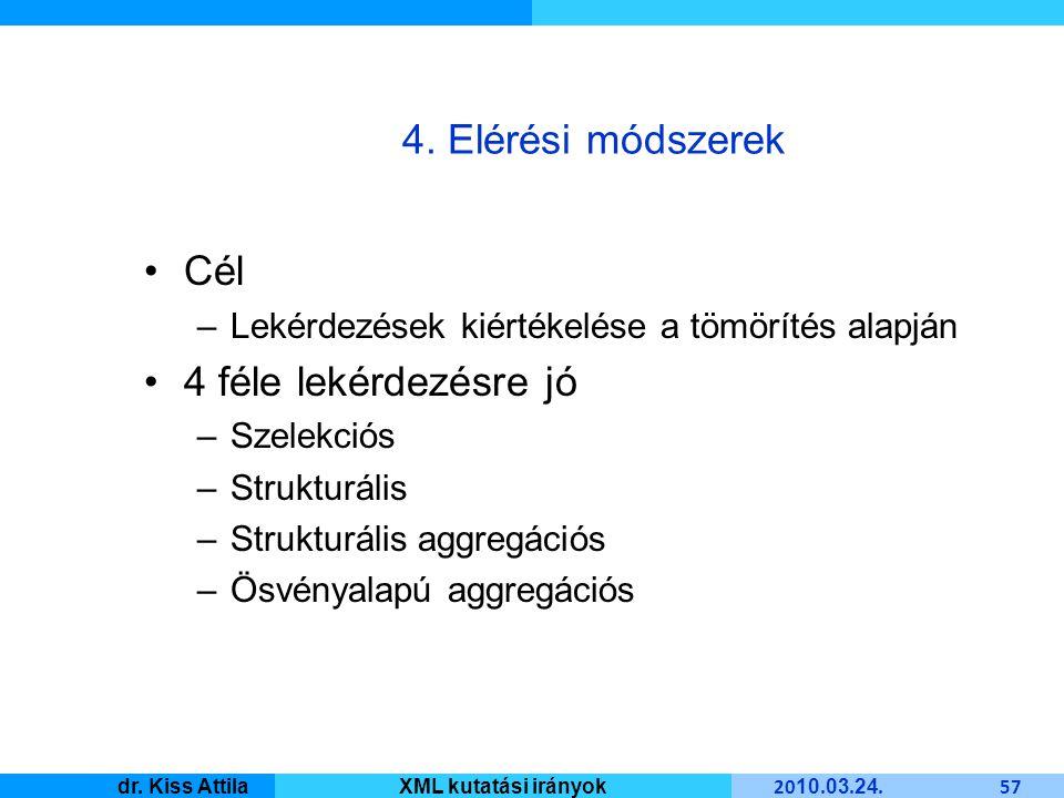 Master Informatique 20 10. 03. 24. 57 dr. Kiss AttilaXML kutatási irányok 4.
