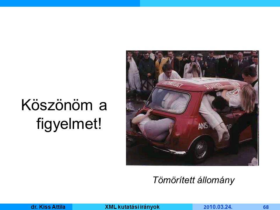 Master Informatique 20 10. 03. 24. 68 dr. Kiss AttilaXML kutatási irányok Köszönöm a figyelmet.