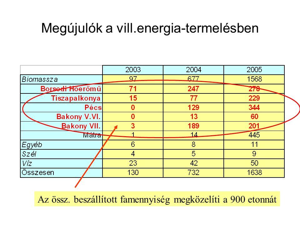 Megújulók a vill.energia-termelésben Az össz. beszállított famennyiség megközelíti a 900 etonnát
