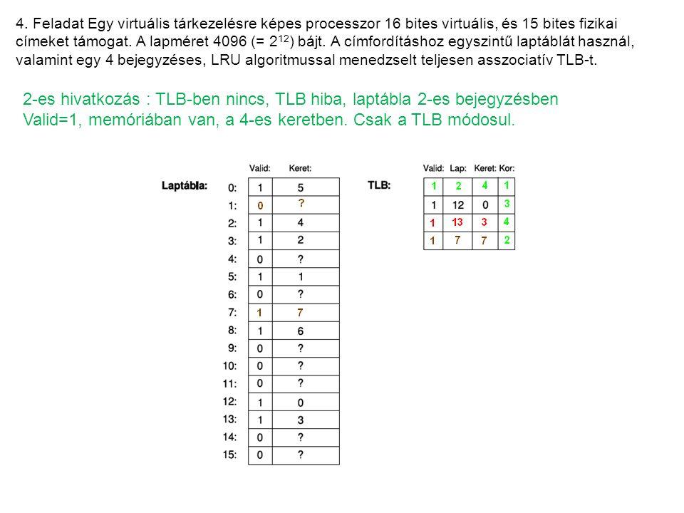 4. Feladat Egy virtuális tárkezelésre képes processzor 16 bites virtuális, és 15 bites fizikai címeket támogat. A lapméret 4096 (= 2 12 ) bájt. A címf