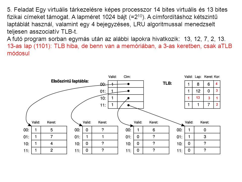 5. Feladat Egy virtuális tárkezelésre képes processzor 14 bites virtuális és 13 bites fizikai címeket támogat. A lapméret 1024 bájt (=2 10 ). A címfor