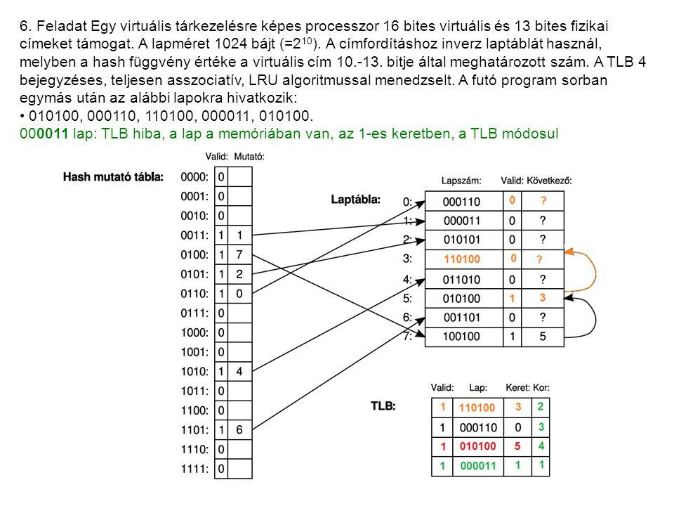 6. Feladat Egy virtuális tárkezelésre képes processzor 16 bites virtuális és 13 bites fizikai címeket támogat. A lapméret 1024 bájt (=2 10 ). A címfor