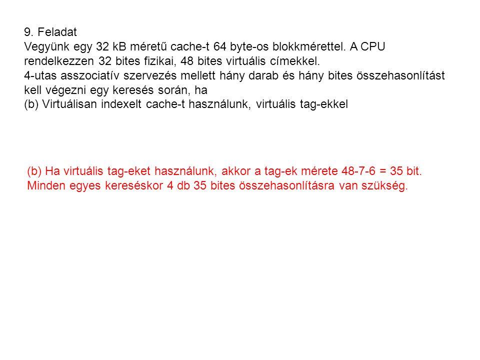 9. Feladat Vegyünk egy 32 kB méretű cache-t 64 byte-os blokkmérettel.