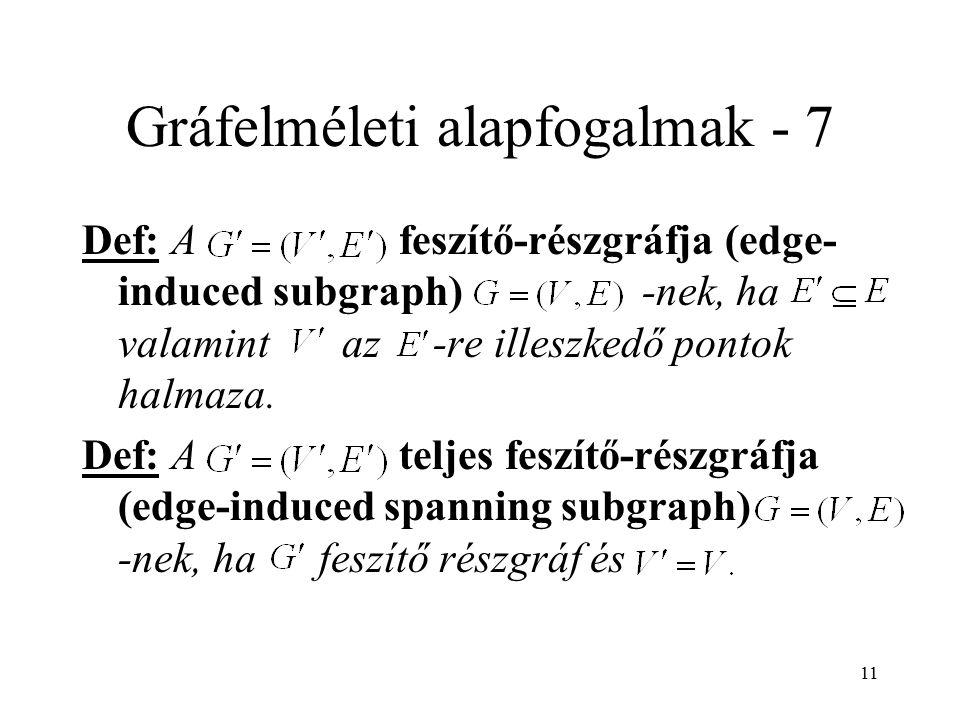 11 Gráfelméleti alapfogalmak - 7 Def: A feszítő-részgráfja (edge- induced subgraph) -nek, ha valamint az -re illeszkedő pontok halmaza. Def: A teljes