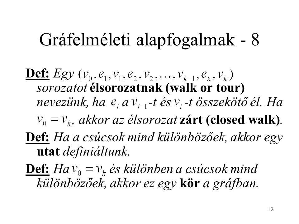 12 Gráfelméleti alapfogalmak - 8 Def: Egy sorozatot élsorozatnak (walk or tour) nevezünk, ha a -t és -t összekötő él. Ha, akkor az élsorozat zárt (clo
