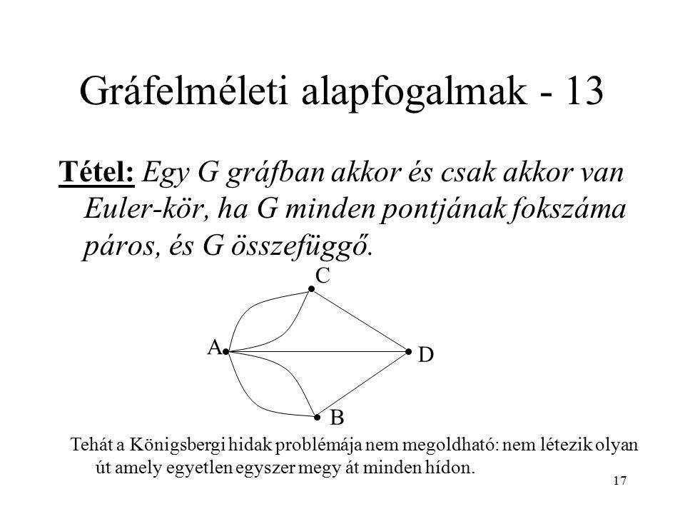 17 Gráfelméleti alapfogalmak - 13 Tétel: Egy G gráfban akkor és csak akkor van Euler-kör, ha G minden pontjának fokszáma páros, és G összefüggő. A B C