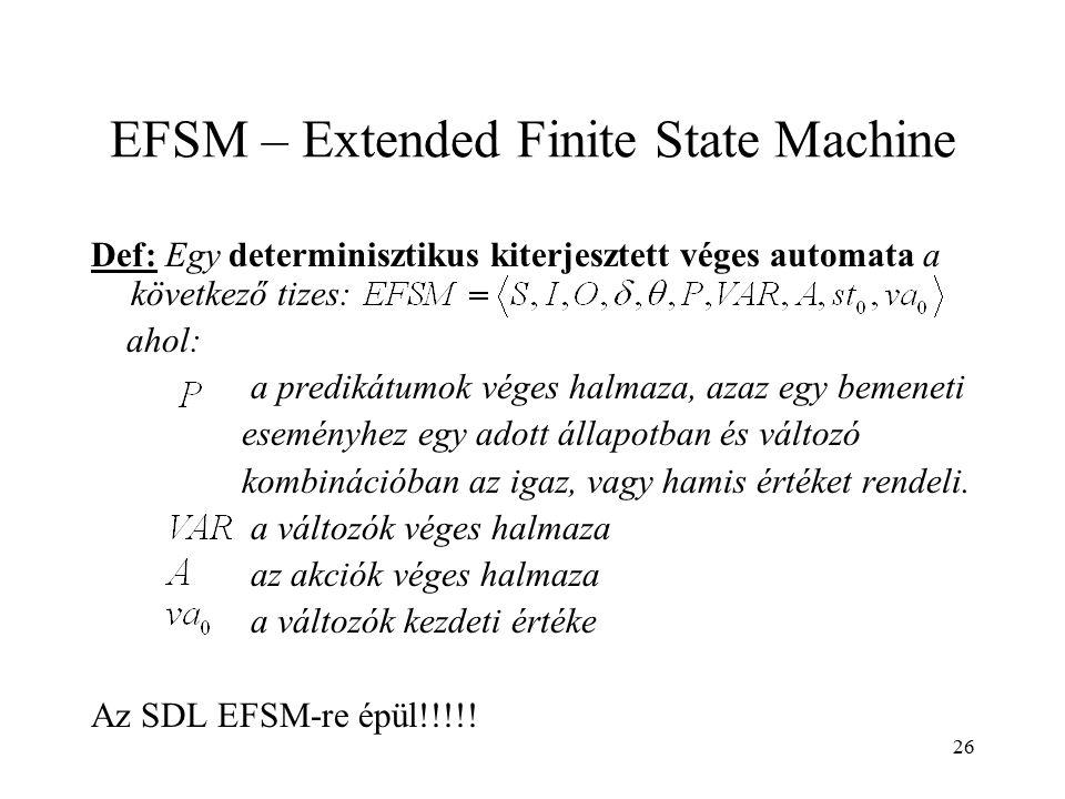 26 EFSM – Extended Finite State Machine Def: Egy determinisztikus kiterjesztett véges automata a következő tizes: ahol: a predikátumok véges halmaza,
