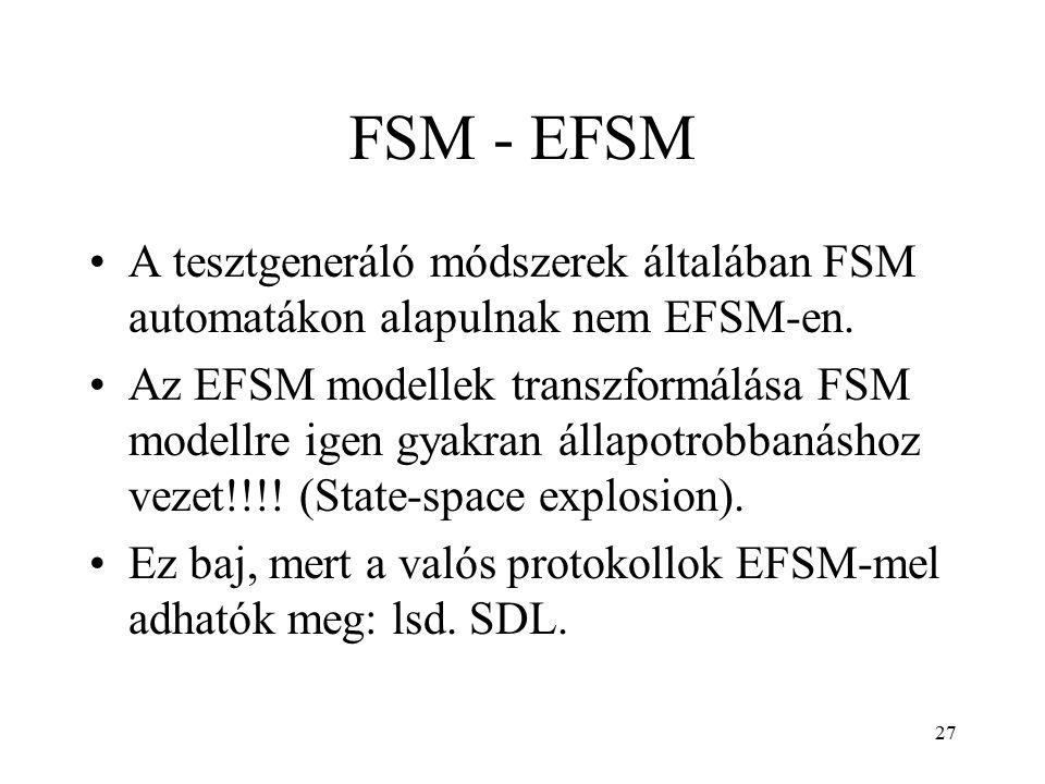 27 FSM - EFSM A tesztgeneráló módszerek általában FSM automatákon alapulnak nem EFSM-en. Az EFSM modellek transzformálása FSM modellre igen gyakran ál