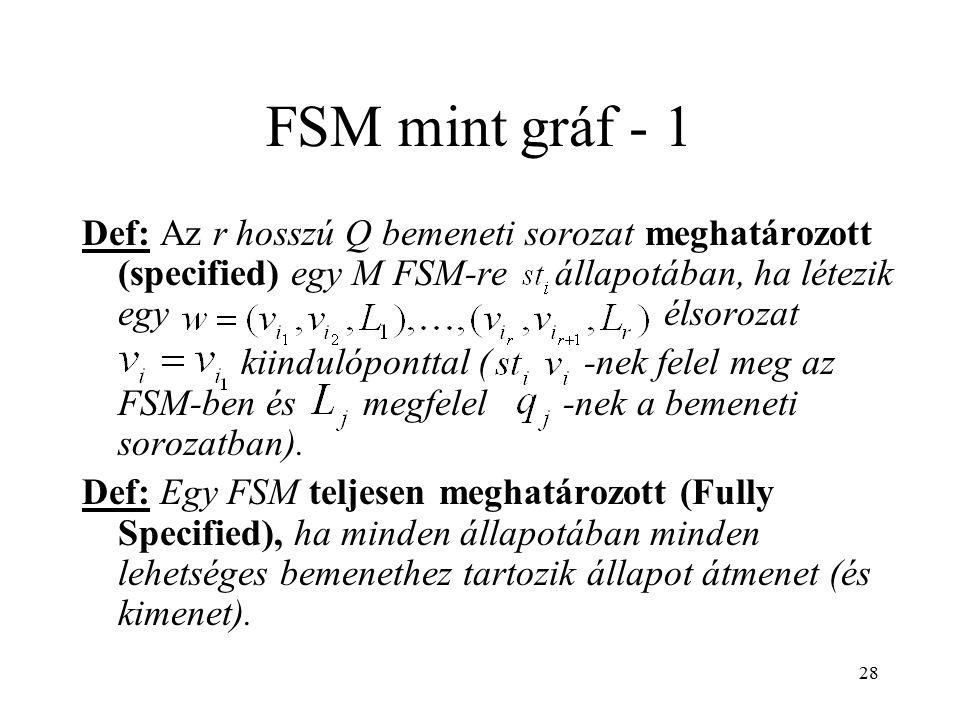 28 FSM mint gráf - 1 Def: Az r hosszú Q bemeneti sorozat meghatározott (specified) egy M FSM-re állapotában, ha létezik egy élsorozat kiindulóponttal