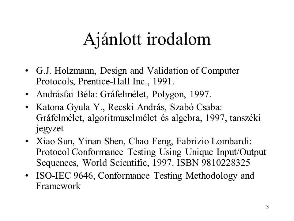 3 Ajánlott irodalom G.J. Holzmann, Design and Validation of Computer Protocols, Prentice-Hall Inc., 1991. Andrásfai Béla: Gráfelmélet, Polygon, 1997.