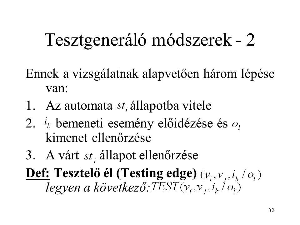 32 Tesztgeneráló módszerek - 2 Ennek a vizsgálatnak alapvetően három lépése van: 1.Az automata állapotba vitele 2. bemeneti esemény előidézése és kime