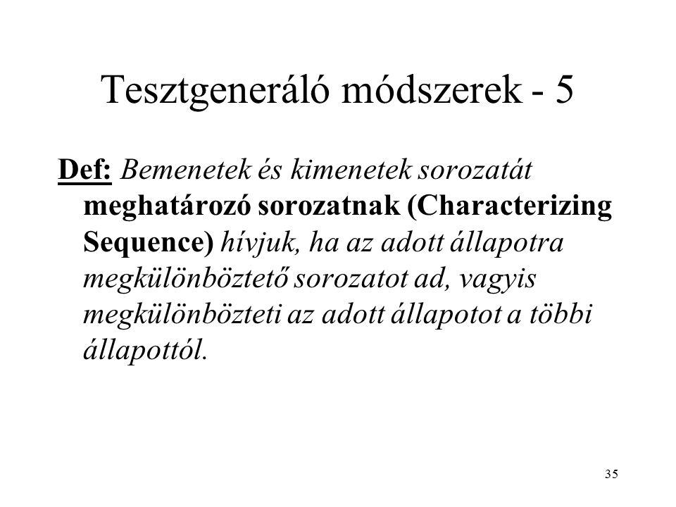 35 Tesztgeneráló módszerek - 5 Def: Bemenetek és kimenetek sorozatát meghatározó sorozatnak (Characterizing Sequence) hívjuk, ha az adott állapotra me